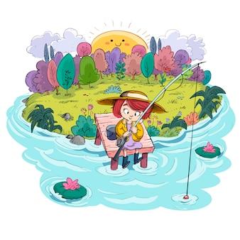 Pequeña niña pescando en el campo
