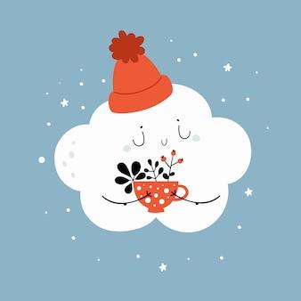 Pequeña nube de dibujos animados con sombrero con taza de café, té de hierbas