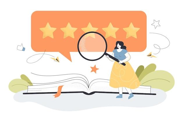 Pequeña persona femenina con lupa dando buena reseña de libro