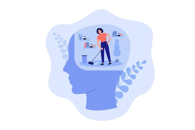 Pequeña persona limpiando el espacio dentro de la cabeza humana, piso moping