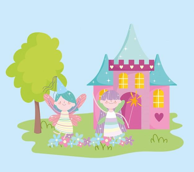 Pequeña princesa de hadas aladas con dibujos animados de cuento de flores de castillo