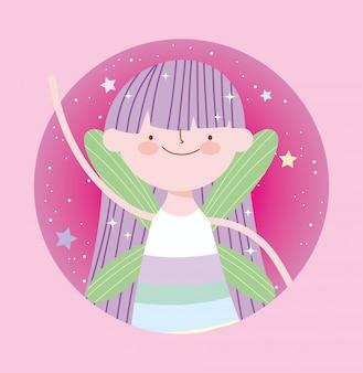 Pequeña princesa de hadas con alas personaje de dibujos animados de cuento mágico