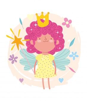 Pequeña princesa de hadas, cabello rizado con corona y varita mágica de dibujos animados