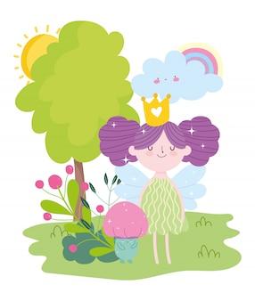 Pequeña princesa de hadas con dibujos animados de cuento de árbol de arco iris de hongo de corona