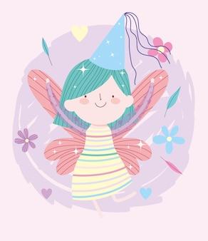 Pequeña princesa de hadas con dibujos animados de cuento de sombrero y flores