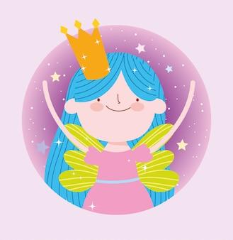 Pequeña princesa de hadas con dibujos animados de fantasía mágica de corona