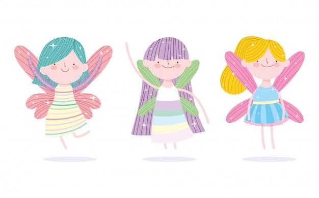 Pequeña princesa de hadas linda con dibujos animados de cuento de personajes de alas