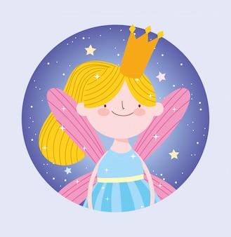 Pequeña princesa de hadas rubia con dibujos animados de cuento de la corona