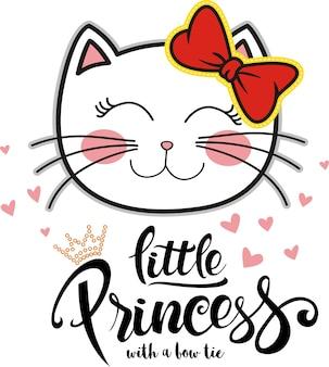 Pequeña princesa, ilustración linda del gato