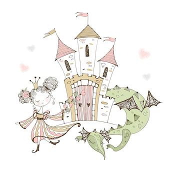 Pequeña princesa linda y dragón de cuento de hadas.