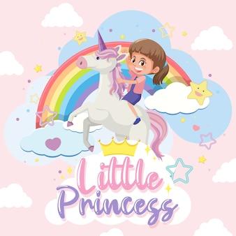 Pequeña princesa con niña montando unicornio sobre fondo rosa y azul pastel