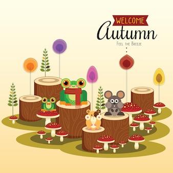 Pequeña rana y amigos dando la bienvenida al otoño