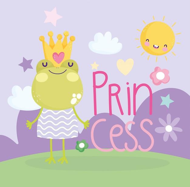Pequeña rana con corona y vestido princesa texto lindo de dibujos animados