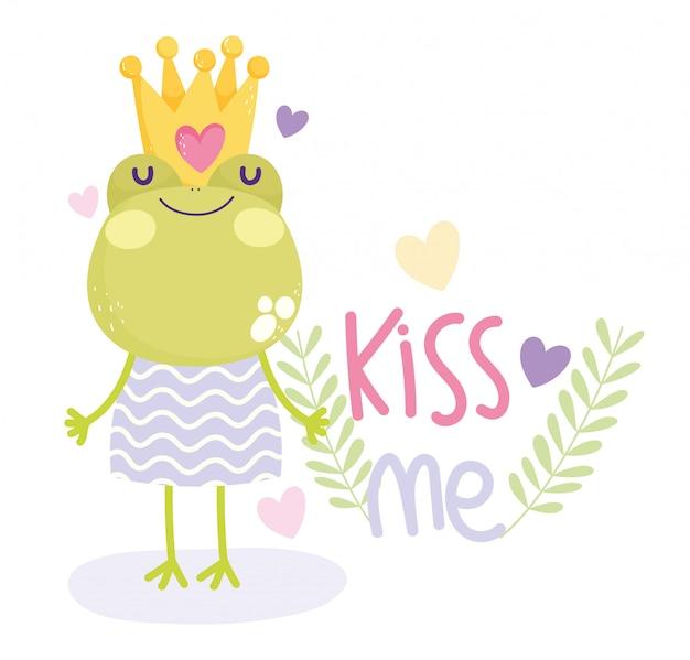 Pequeña rana con corona y vestido de texto lindo de dibujos animados