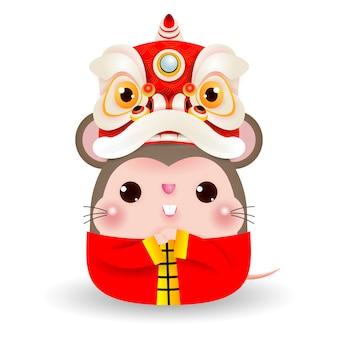 Pequeña rata con lion dance head, feliz año nuevo chino 2020 año del zodiaco rata