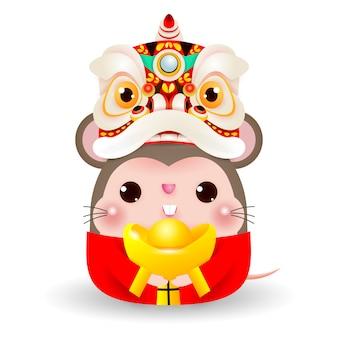 Pequeña rata con lion dance head sosteniendo oro chino, feliz año nuevo chino 2020 año del zodiaco de la rata,