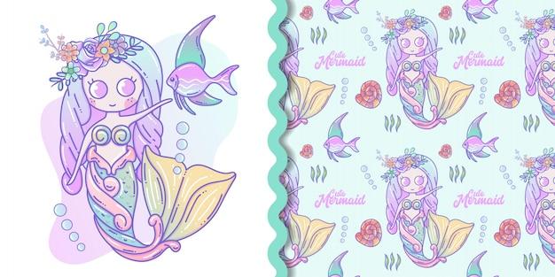 Pequeña sirena linda y dibujos animados de vida marina con conjunto de patrones sin fisuras