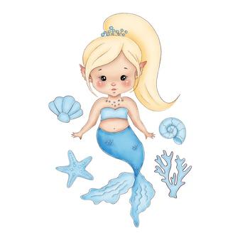 Pequeña sirena rubia linda de la historieta con una cola azul sobre un fondo blanco