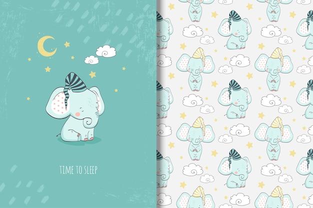 Pequeña tarjeta de elefante de dibujos animados y patrones sin fisuras