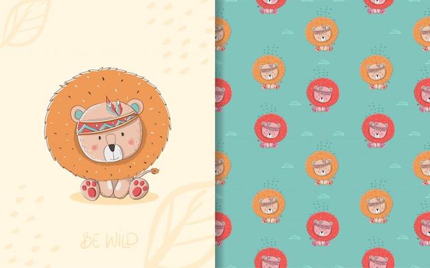 Pequeña tarjeta linda del león y de patrones sin fisuras. ilustración infantil