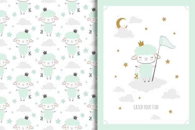 Pequeña tarjeta de ovejas y patrones sin fisuras para niños