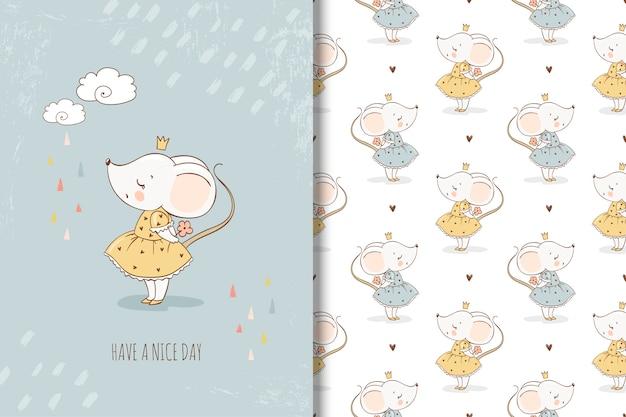Pequeña tarjeta de princesa de ratón y patrones sin fisuras