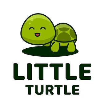 Pequeña tortuga linda plantilla de logotipo