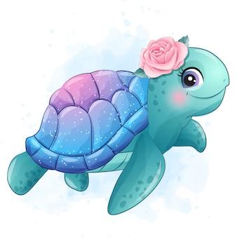 Pequeña tortuga marina linda con ilustración acuarela