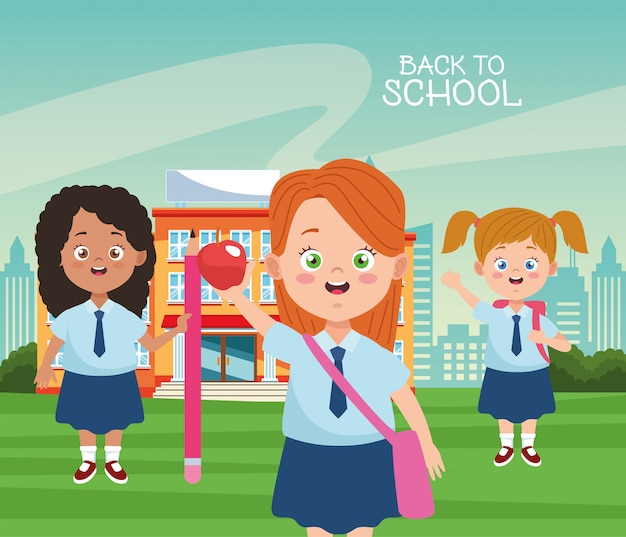 Pequeñas estudiantes chicas con uniformes personajes