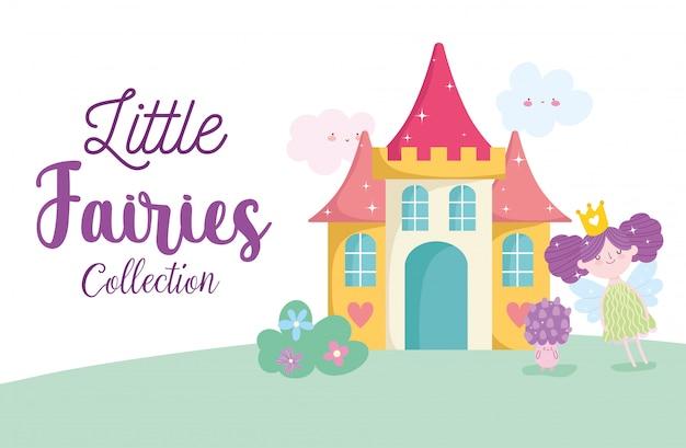 Pequeñas hadas lindas princesa cuento personaje de hongo de castillo de dibujos animados