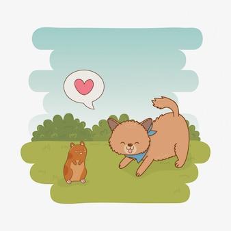Pequeñas mascotas lindas de perrito y conejillo de indias