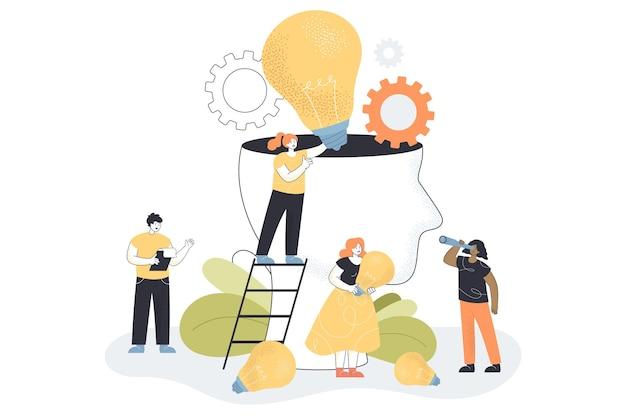 Pequeñas personas creativas que comparten ideas con personas abstractas.