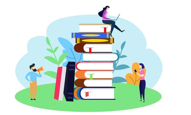 Pequeñas personas con un enorme libro apilado.