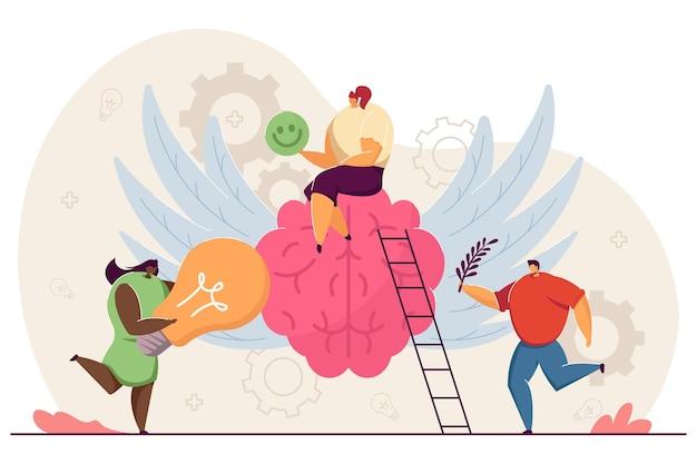 Pequeñas personas felices con mente sana
