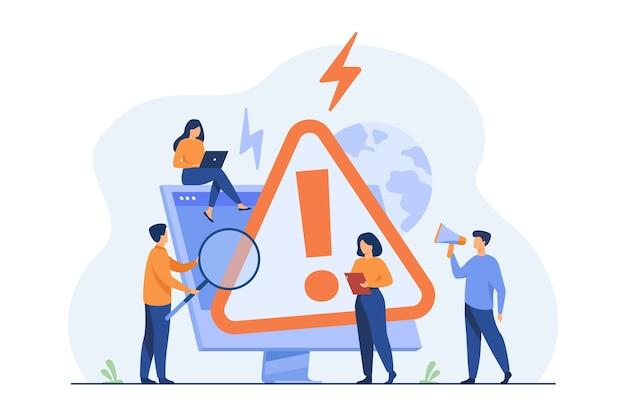 Pequeñas personas que examinan la advertencia de error del sistema operativo en la página web aislaron la ilustración plana.