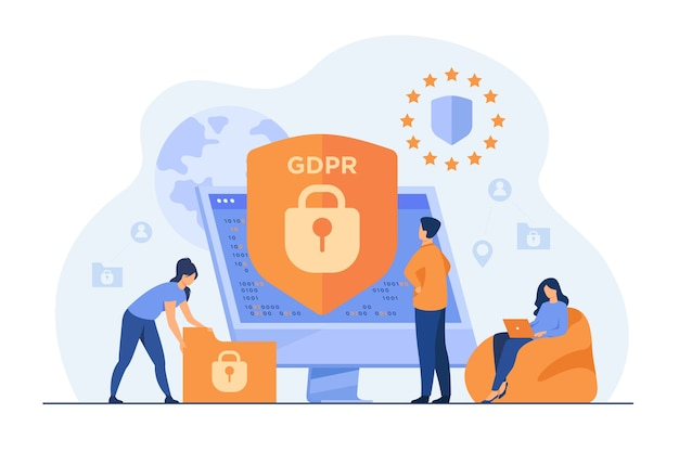 Pequeñas personas que protegen los datos comerciales y la información legal aislaron la ilustración plana.