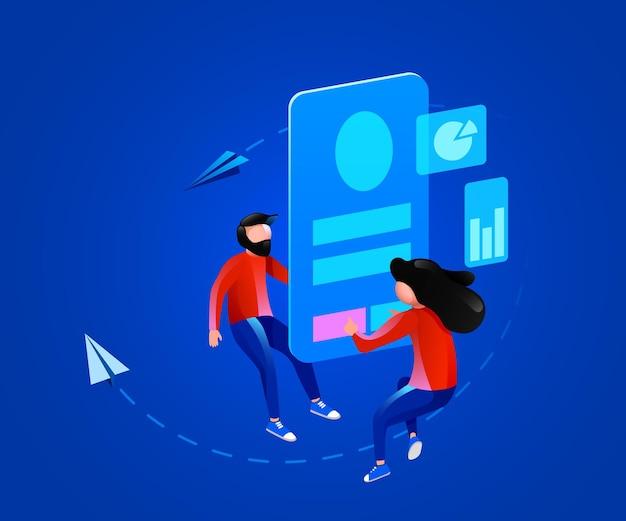 Pequeñas personas que vuelan alrededor de la solución empresarial o los elementos de la experiencia del usuario trabajando juntos