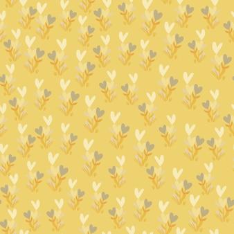 Pequeñas ramas botánicas con corazones de patrones sin fisuras. fondo amarillo pastel claro con elementos blancos.