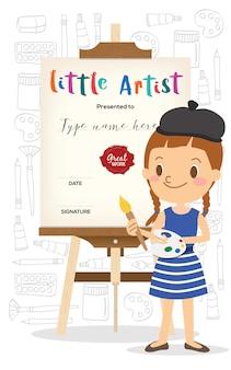 Pequeño artista de dibujos animados de pie delante de caballete de madera