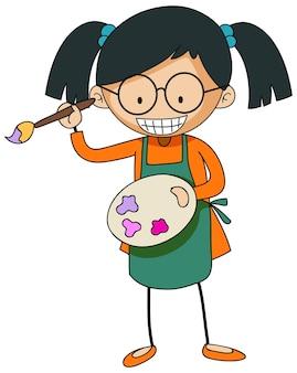 Pequeño artista con personaje de dibujos animados de paleta de colores aislado