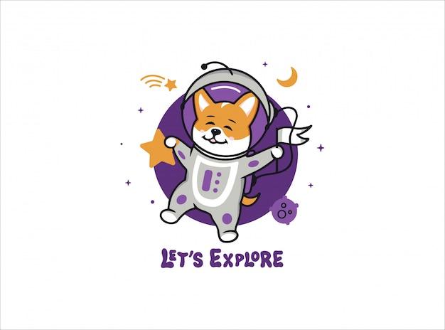 Un pequeño astronauta perro corgi, logotipo de espacio con texto.