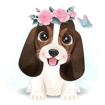 Pequeño basset hound lindo con ilustración floral