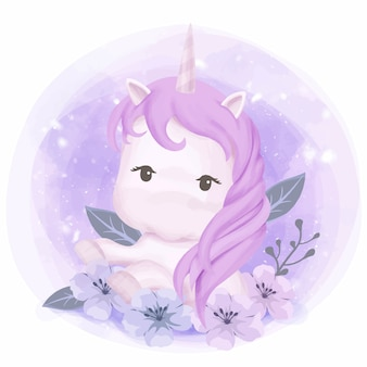 Pequeño bebé linda princesa unicornio