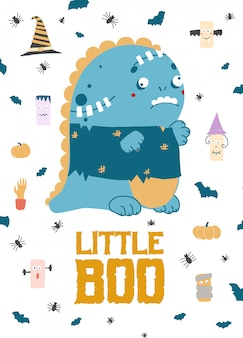 Pequeño boo. lindo dinosaurio zombie, tarjeta de halloween. ilustración plana. ilustración de camisetas.