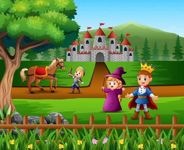 Pequeño caballero luchando contra un caballo para proteger al príncipe