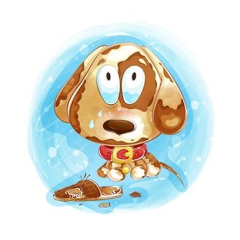 Pequeño cachorro triste sobre un fondo azul acuarela