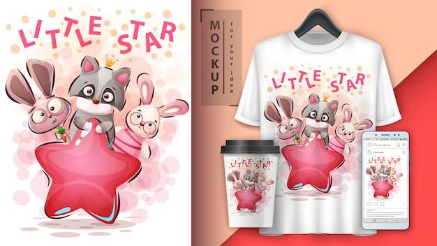 Pequeño cartel de animales estrella y merchandising