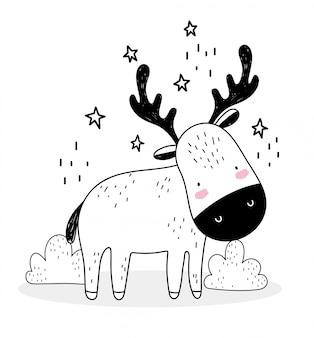 Pequeño ciervo estrellas decoración animales lindos bosquejo fauna silvestre dibujos animados adorable