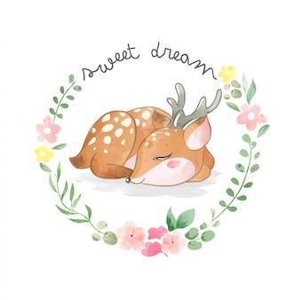 Pequeño ciervo lindo durmiendo en círculo flores marco ilustración