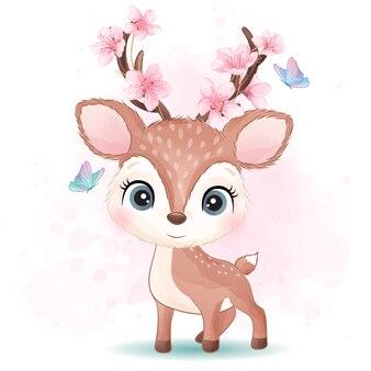 Pequeño ciervo lindo con ilustración acuarela